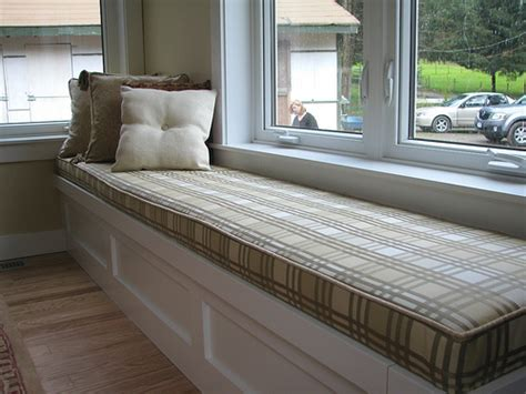 window bench cushions window seat in checker street custom bench cushion in chec flickr photo sharing