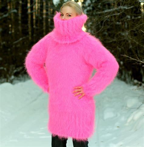 Alpaca Duvet Sweater Pink Hand Knit Mohair Dress Turtleneck