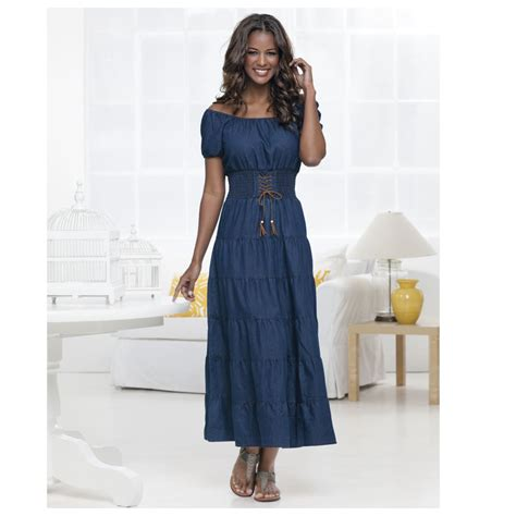 Dress Denim Import Fashion Cewek Maxi Dress Dress Jumbo Denim Tiered Maxi Dress Ebay