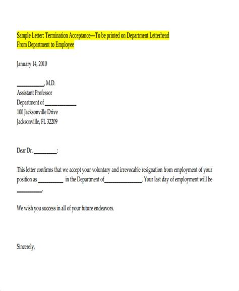 voluntary termination letter template 32 termination letter exles doc pdf ai free