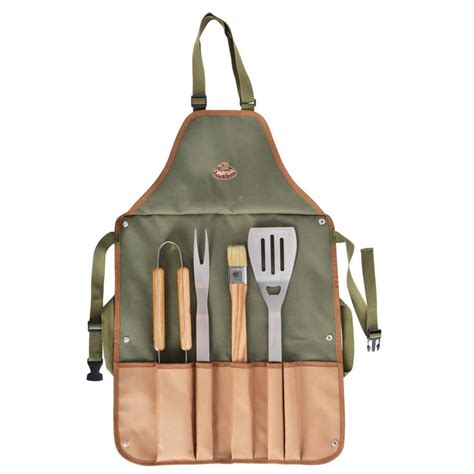 personalised bbq apron and tool set by idyll home