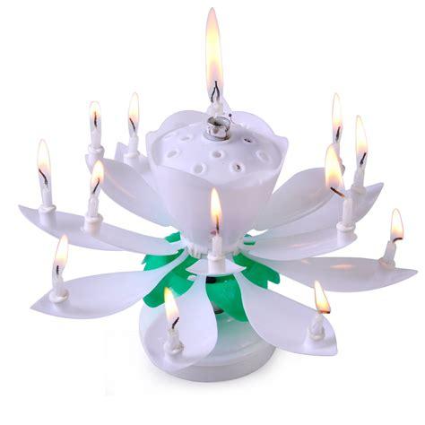rotating musical lotus flower happy birthday candle lights rotating musical lotus flower happy birthday candle lights gift ebay
