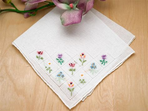 Wedding Bouquet Embroidery by Set Of 3 Flower Bouquet Embroidered Handkerchiefs