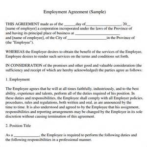 Employment Agreements Template by Sle Employment Agreement 5 Free Documents