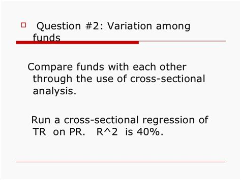 cross sectional regression analysis does asset allocation policy explain 40 90 or 100