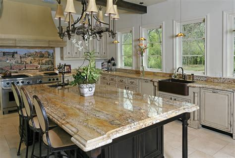 Artisan Countertops by Artisan Collection Granite Island With Chandelier