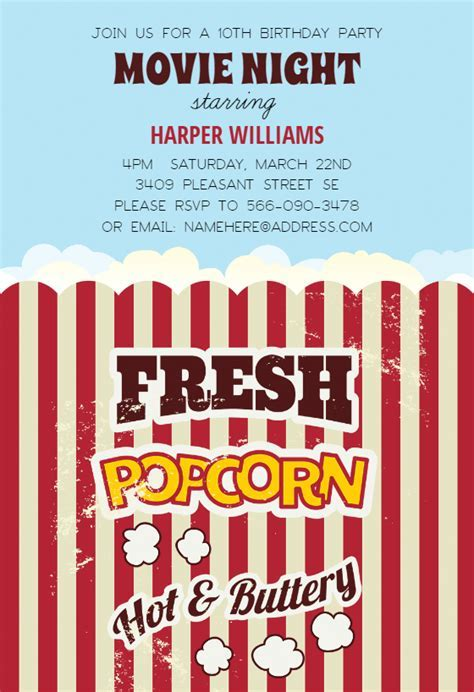 Popcorn   Birthday Invitation Template (Free)   Greetings