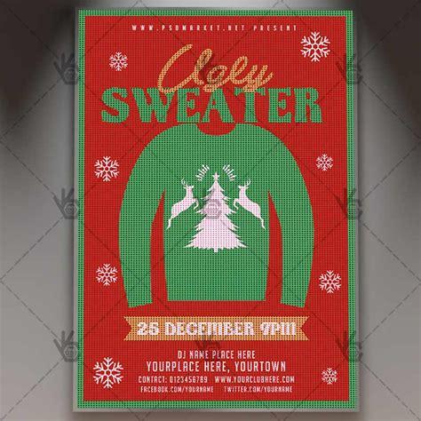 Ugly Sweater Winter Flyer Psd Template Psdmarket Sweater Flyer Template