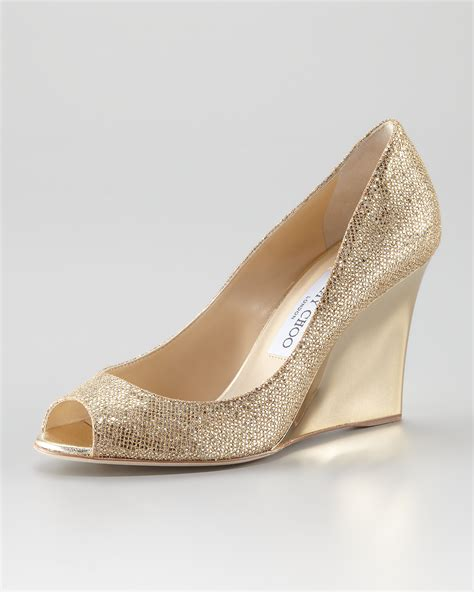 Wedges Gloss Gold lyst jimmy choo baxen glitter mirrored wedge in metallic