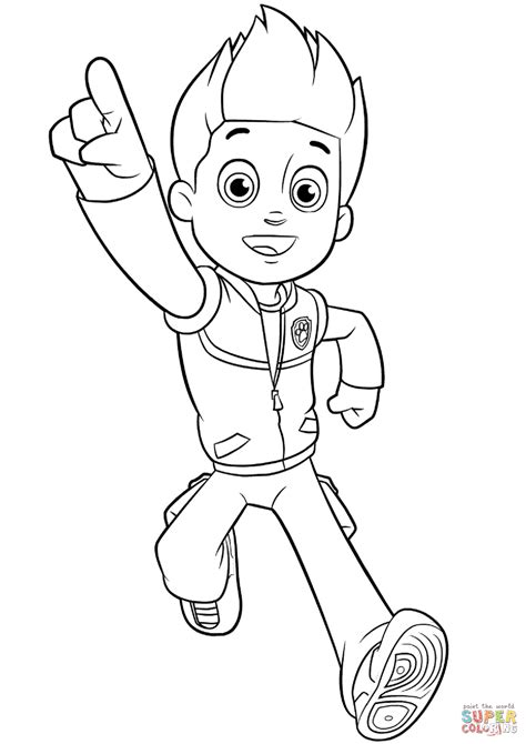 Paw Patrol Ryder Coloring Pages To Print | paw patrol ryder coloring page free printable coloring pages