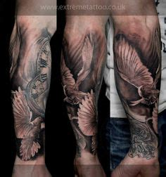 new school vibrant sleeve tattoos black line studio doves tattoo sleeve pocket watch arm tattoos pinterest