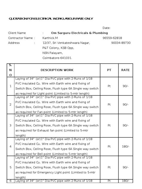 electrician quote template quotation for electrical work labour rate only