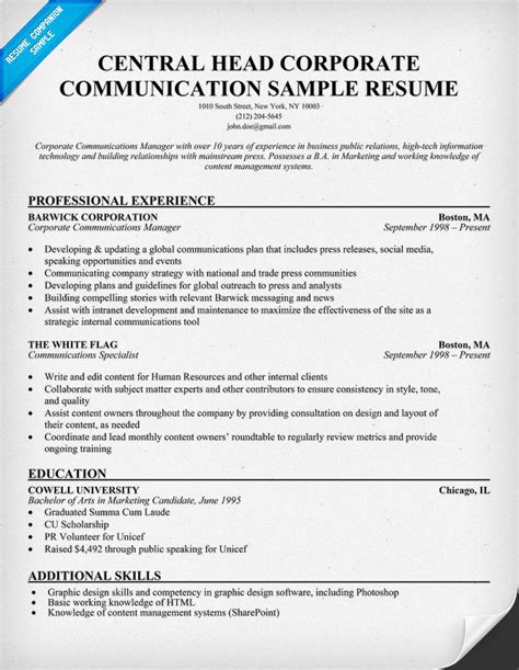 Resume Sle For Corporate Communication Manager Resume Exles Communications Specialist Resume Writing