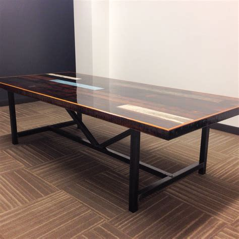 Reclaimed Wood Conference Table Industrial Reclaimed Wood Conference Table Resin Finish