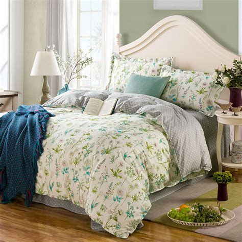 attractive white floral cotton bedding set ebeddingsets