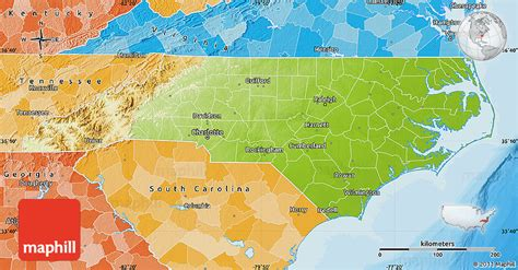physical map of nc physical map of carolina political shades outside
