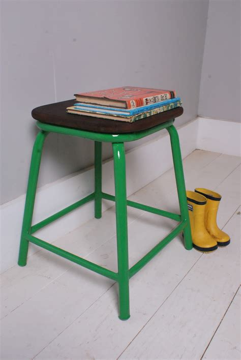 Child Has Green Stool by Children S Vintage Green Metal Legged Stool With Wooden