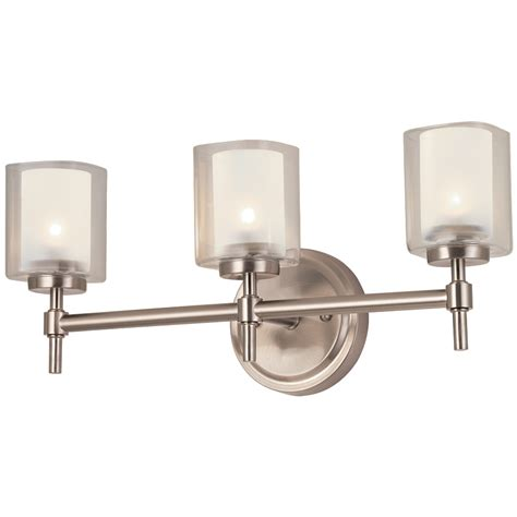 Polished Nickel Bathroom Lights Shop Bel Air Lighting 3 Light Brushed Nickel Bathroom Vanity Light At Lowes