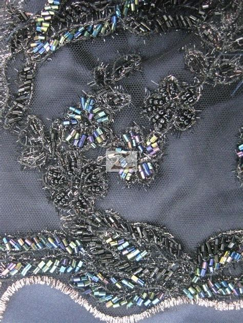 beaded fabric by the yard tangle floral beaded mesh fabric black 50 quot width