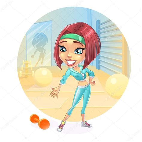 imagenes fitness animadas dibujos animados mujer en el gimnasio fitness aer 243 bic