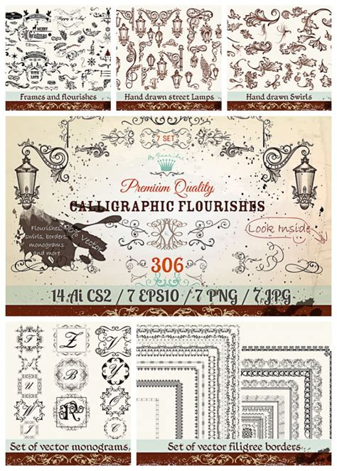 Wedding Font Collection Rar by Vintage Flourishes And Swirls Pack Free