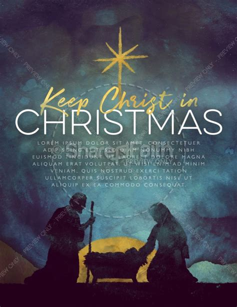 Keep Christ In Christmas Flyer Template Nativity Flyer Template
