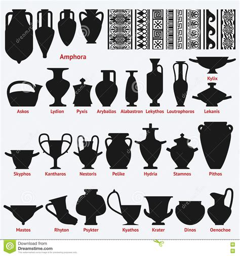 decorazioni vasi greci insieme dei vasi greci antichi e dei modelli senza