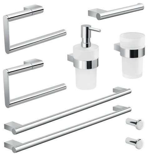 Gedy Wall Mounted Chrome Hardware Set Reviews Houzz Wall Mounted Bathroom Accessories Sets