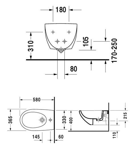 wc bd kombi duravit architec wall mounted bidet 365 x 580mm 2531150000