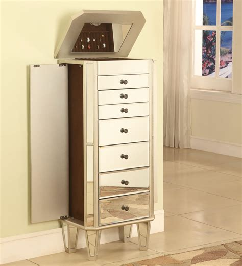 standing mirrored jewelry cabinet storage chest box