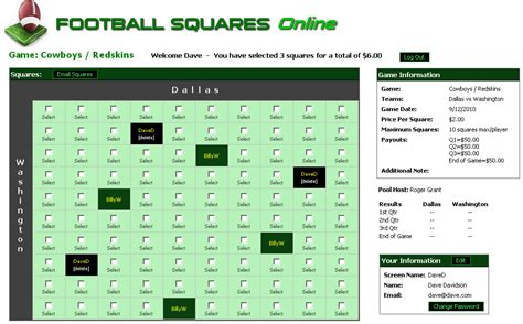 Office Football Pool Football Squares Printable Square Grid Office Pool 2017