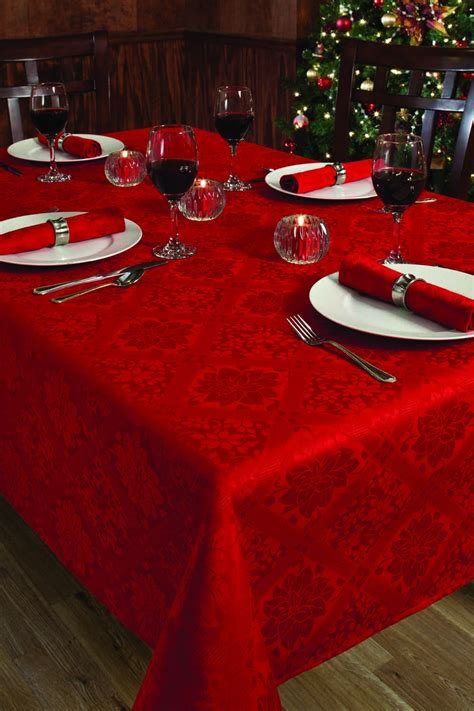 Christmas Holiday Red Damask Poinsettia Diamond Table