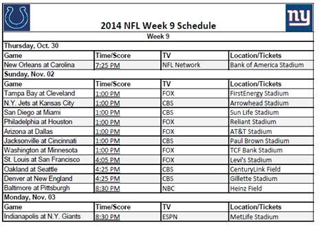nfl printable schedule 2014 by week printable 2014 nfl week 9 schedule
