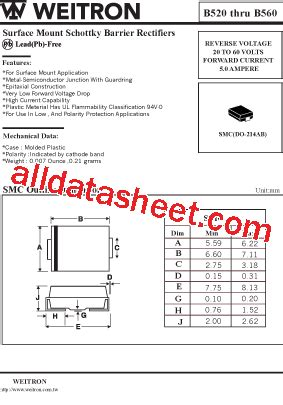 transistor b560 b560 datasheet pdf weitron technology