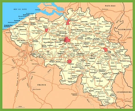 belgica map belgium road map with cities