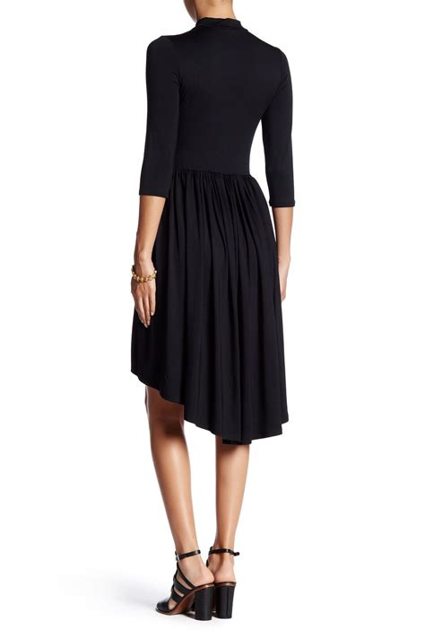 Couture Trifold Travel In Mock by Go Couture Mock Neck Gathered Hi Lo Dress Nordstrom Rack