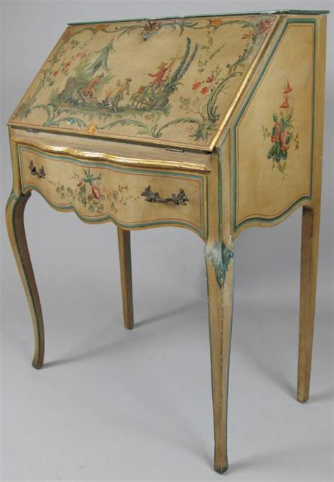 Artist Desk L by Artist Signed Painted Chinoiserie Desk From Marblehead Massachusetts At 1stdibs
