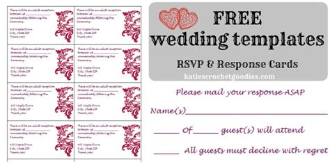 Free Wedding Templates Rsvp Reception Cards Katie S Crochet Goodies Free Templates Cards
