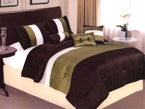 brown and green comforter 7 pcs sleek contemorary striped satin comforter set sage