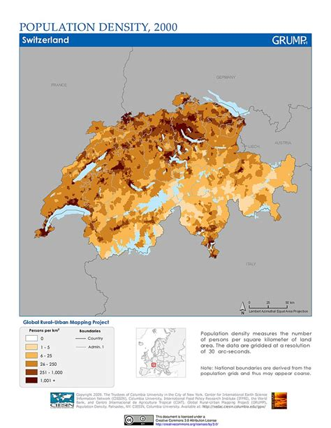 population density map of switzerland map gallery sedac