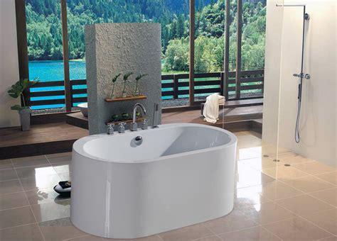 stand bathtub white acrylic stand bathtub on black ceramic tiled