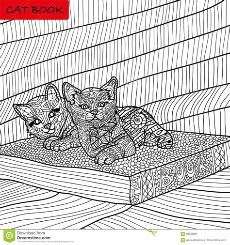 intricate cat coloring page coloring book for adults zentangle cat book ink pen