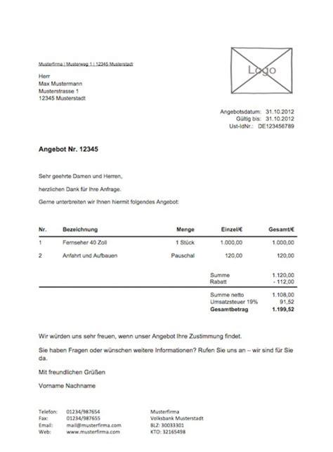 Angebot Vorlage Mac Kostenlose Angebotsvorlage Vorlagen Muster Zu Angebot