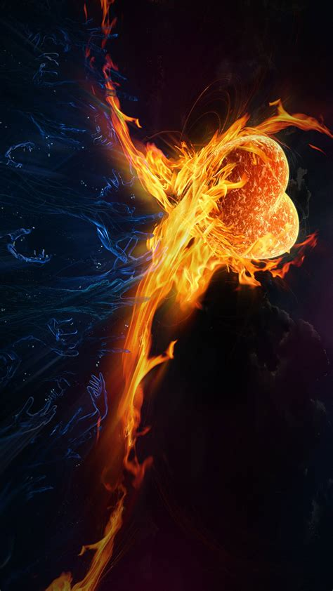 fire heart abstract full hd smartphone wallpaper gallery