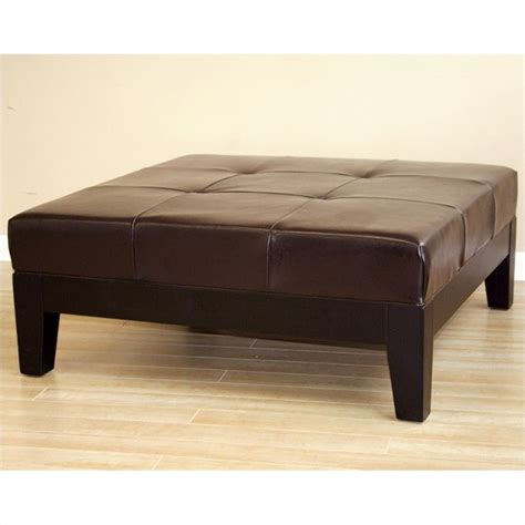 Brown Leather Cocktail Ottoman Square Leather Cocktail Ottoman In Brown Y 195 001 Brown
