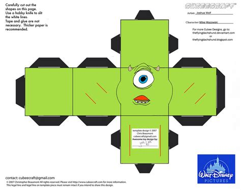 Paper Craft Company - dis22 mike wazowski cubee by theflyingdachshund on deviantart