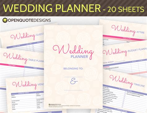 printable wedding notebook organizer printable wedding planner organizer printable by