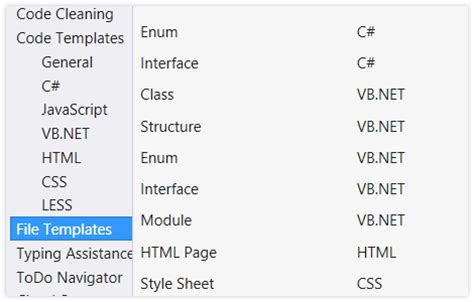 code and file templates for c visual basic asp net xml