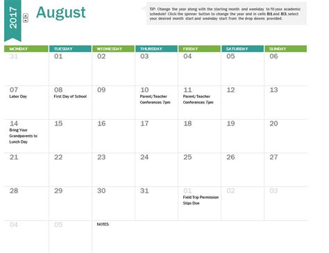 2017 18 Academic Calendar Template