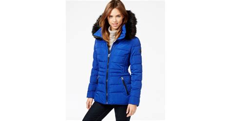 Quilted Faux Fur Trim Puffer by Calvin Klein Hooded Faux Fur Trim Quilted Puffer Coat In